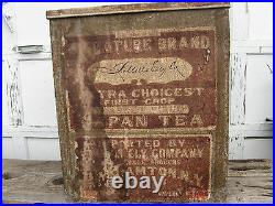 1890s lg TIN JAPAN TEA STORE BIN -J. MILLS ELY Co. DISPLAY- ANTIQUE COFFEE RARE