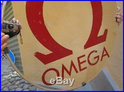 1970 Specchio Omega Orologi Insegna Vintage CM 66 Mirror Watch Sign Old Rare