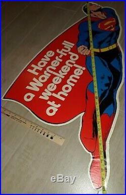 1981 SUPERMAN WARNER Home Movie Display PROMO Advertising Sign 36in x 18in RARE