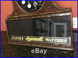 ANTIQUE INGERSOLL Advertising Watch Clock Store Counter Display Case RARE