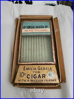 Antique Rare General Store Emilia Garcia Cigar Advertising Glass LID Display Box