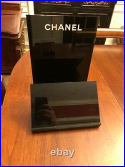 CHANEL Black Acrylic Store Display Stand Perfume Cosmetics Rare 11x7.5. X 8.5 in
