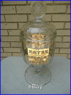 Collectible Rare Antique1907 ZATEK CHOCOLATE BILLET Store Display JAR & LID