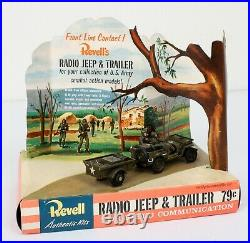 EXTREMELY RARE! 1957 Revell Radio Jeep & Trailer Factor Model Kit STORE DISPLAY
