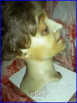 Exquisite RARE c1890 French wax smiling boudoir store Mannequin head withteeth, wig