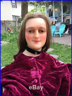 Extremely Rare Victorian Antique French Wax Mannequin Head W Glass Eyes, Awesome