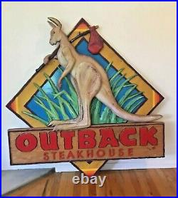 HUGE 4 FOOT Vintage Outback Steakhouse Advertisement Rare Wood Store Front Sign