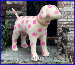 HUGE 69 Victoria's Secret PInk Dog Mascot Store DIsplay Polka Dot Retired Rare