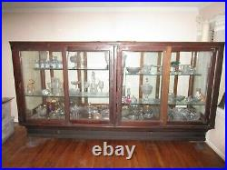 Large Rare Antique Wooden Glass Showcase Display Hardware Candy Store Furniture