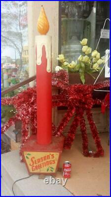 NEW INFO ADDED Antique Christmas Noma Store Display Candle 53 tall RARE