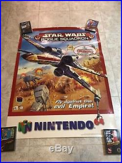 Nintendo 64 N64 Star Wars Rouge Squadron Poster Store Display Sign Promo Rare