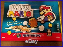 Nintendo N64 Paper Mario Store Display Vinyl Banner Sign Promo RARE 2 SIDED