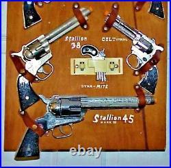 Nos Nichols Stallion Cap Guns, Toy Store Display Board, With 7 Unfired Guns Rare