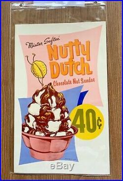 Original 4 Mr Softee ice cream truck menu posters 1960s Rare 8 Menus In Total