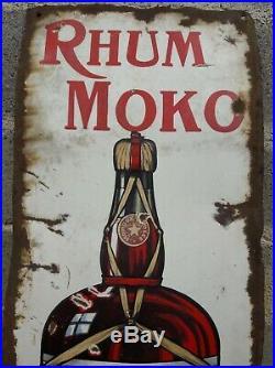 Plaque émaillée ancienne RHUM MOKO Etat moyen mais Modèle rare A VOIR