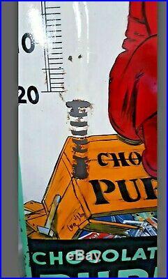 Plaque émaillée ancienne chocolat Pupier très rare signée EAS 110 x 40 cm