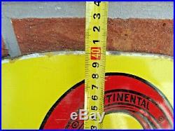 Plaque émaillée double face rare garage pneus CONTINENTAL DESIGN ART DECO 1925