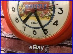 RARE 1950s VTG RED WHISTLE SODA STORE DISPLAY ADVERTISING DINER WALL CLOCK SIGN