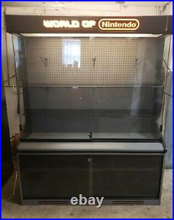 RARE 1990's World Of Nintendo 2-pc Lighted Original Store Display Cabinet