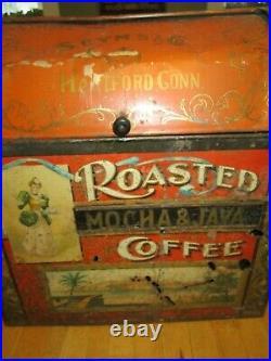 RARE Antique Late 1800s Seym's & Co. Coffee Bin Store Display Hartford Conn