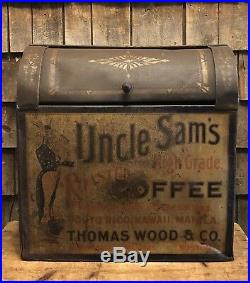 RARE Antique Late 1800s UNCLE SAM Coffee Bin Store Display Thomas Wood & Co Sign