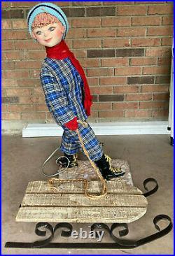 RARE David Hamberger Animated Store Display Boy Pulling Sled