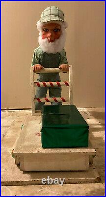 RARE David Hamberger Animated Store Display Cart-pushing Elf