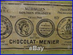 RARE Grand Présentoir CHOCOLAT MENIER 1900 n boite tin box dose plaque émaillée