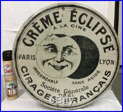 RARE Grande boite CREME CIRAGE ECLIPSE en tole litho 1920 no plaque émaillée