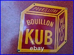 RARE PLAQUE EMAILLEE BOUILLON KUB EDMOND JEAN 20cm d'arête