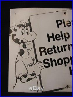 RARE VINTAGE Toys R Us Store Display Sign Geoffrey Return Shopping Basket Cart
