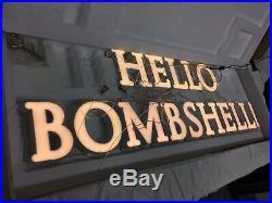 RARE Victorias Secret Heavy Plexiglass Store Display Sign Prop HELLO BOMBSHELL