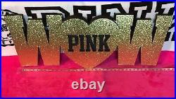 RARE Victorias Secret PINK Gold Glitter WOW Store Prop Display Decoration NEW