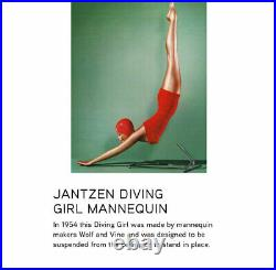 RARE Vintage 1950's Jantzen Diving Girl Store Display Mannequin 1954 Wolf & Vine