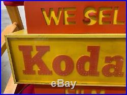 RARE Vintage Lighted Kodak Camera Film Store Display Sign 16 x 13 x 6 GAS OIL