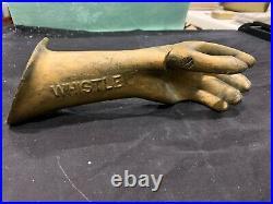RARE WHISTLE ORANGE SODA Hand Store Display Flange Sign for Bottle 1920-30's
