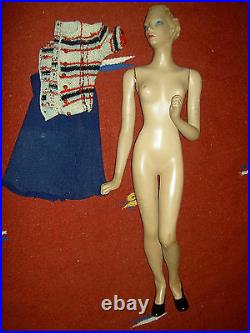 RARE huge 29 vintage Latexture advertising store display mannequin withj'td. Arms