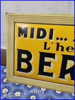 RARE tôle publicitaire Apéritif Anisé MIDI. 7 heures L'heure du BERGER BAR PUB