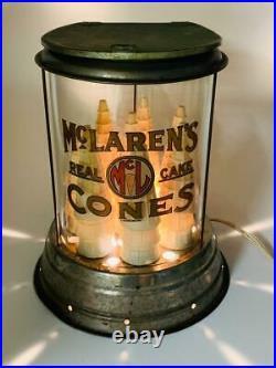 Rare 1900s McLarens Real Cake Cones Ice Cream Cone Glass Dispenser Soda Fountain