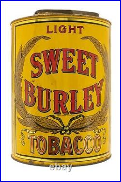 Rare 1920s Sweet Burley litho store display humidor tobacco tin in good cond