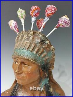 Rare 1930s Chief Watta Pop Chalk Country Store Countertop Lollipop Display Vtg