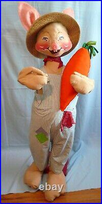 Rare 1981 Store Display 4'tall 48 Annalee Country Boy Bunny With Carrot D-60