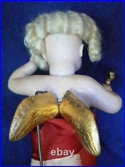 Rare 9 Kestner Christmas Angel Flying Store Display Closed Mouth 24 K Gold Leaf