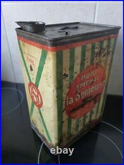 Rare Ancien Bidon D'huile De 2 L La Semeuse Huile Speciale No Plaque Émaillée
