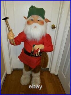 Rare Animated Mechanical Christmas Store Display Workshop Elf Pupi Styl