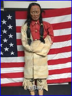 Rare Antigue Skookum Indian Chief Huge Store Display Figure 35 Inches Tall WOW