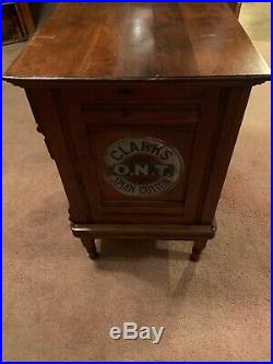 Rare Antique Country Store Display Clarks Six Drawer Spool Cabinet on Legs