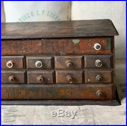 Rare Antique Country Store Display Englishs Needles 12 Drawer Spool Cabinet