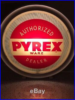 Rare Antique PYREX Ware Dealer Store Display Light-Up Sign, Painted Glass Globe