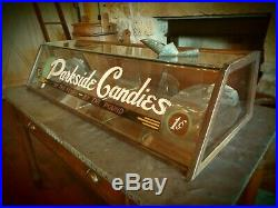 Rare Circa 1920-30's Parkside Candy Store Candy Display- 6 Bins- Rolled Glass